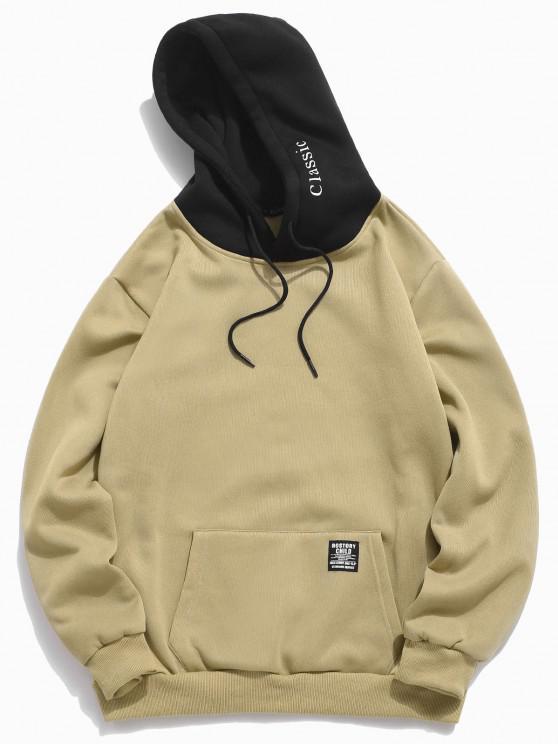 unique Color-blocking Letter Patch Detail Pouch Pocket Fleece Hoodie - LIGHT KHAKI XL