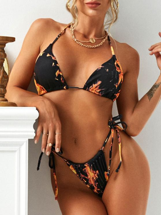 affordable ZAFUL Flame Print Ribbed Tie Side Bikini Swimwear - BLACK M