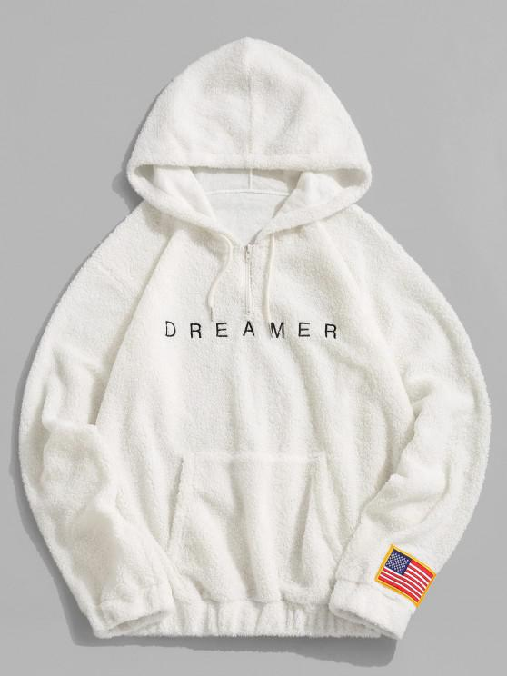 womens Dreamer Embroidery American Flag Patch Teddy Hoodie - WHITE L