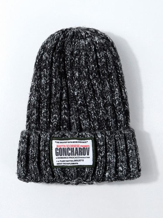 chic Labeling Design Knit Hat - JET BLACK