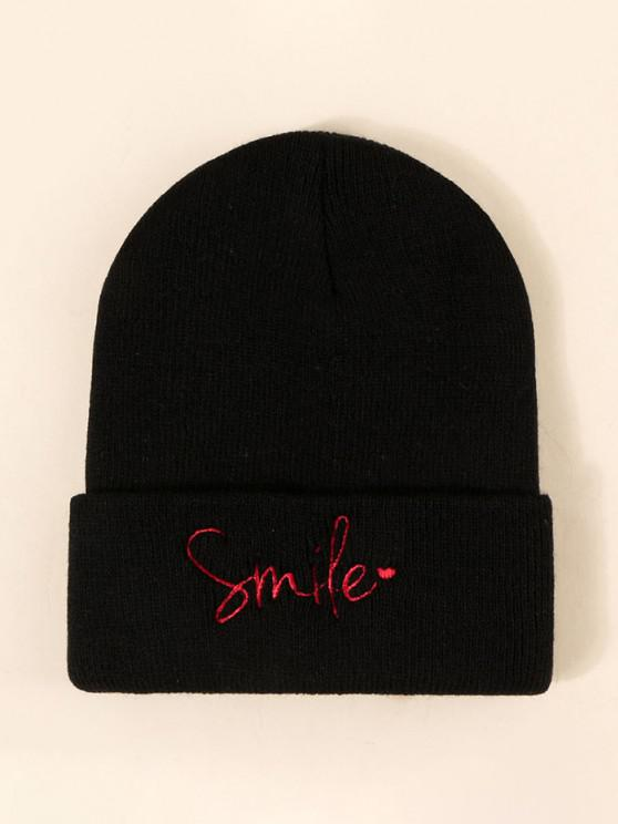 women's Smile Letter Embroidered Knitted Hat - BLACK