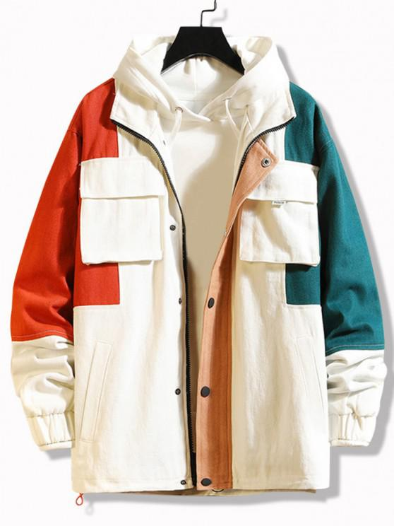 fashion Multi Pockets Zip Up Contrast Jacket - WHITE 3XL