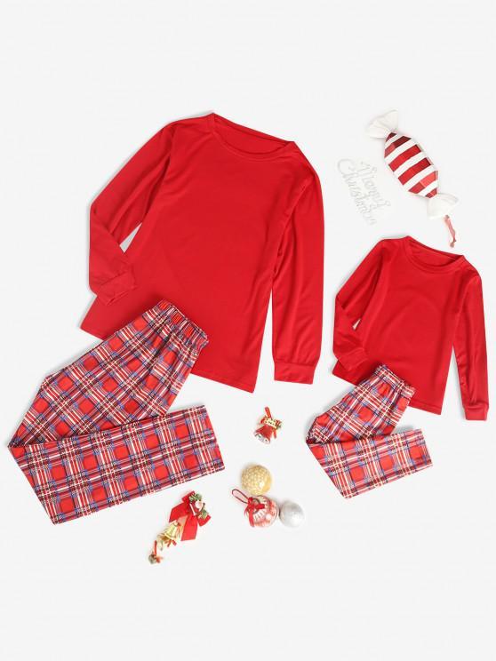 Conjunto de Pijama a Cuadros de Navidad - Rojo Mamá M