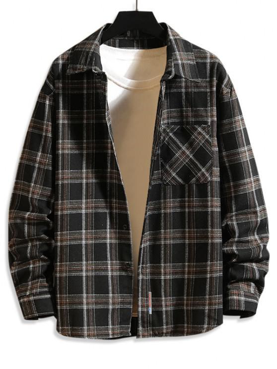 shops Plaid Print Button Up Long Sleeve Pocket Shirt - BLACK S