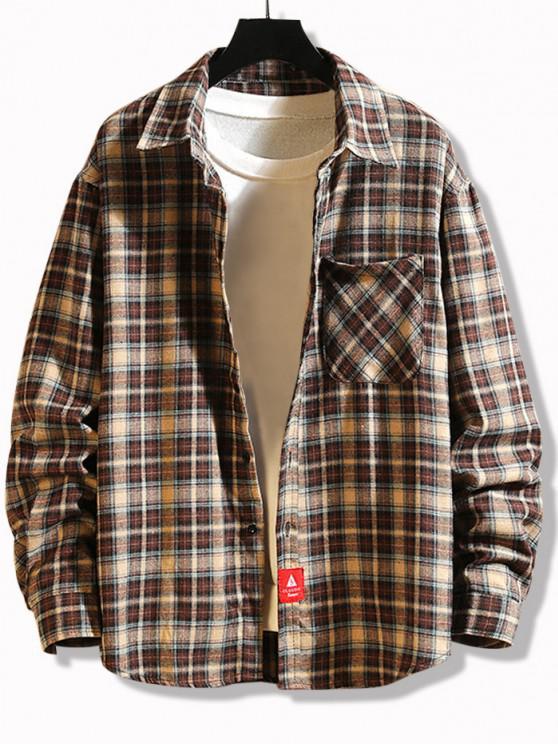 fashion Plaid Print Applique Button Up Pocket Shirt - COFFEE XL