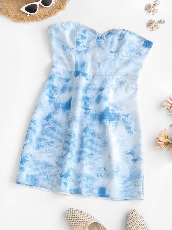 Tie Dye Bustier Tube Dress - أزرق فاتح M