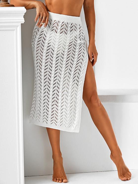 lady Side Slit Lace-up Crochet Beach Skirt - WHITE ONE SIZE