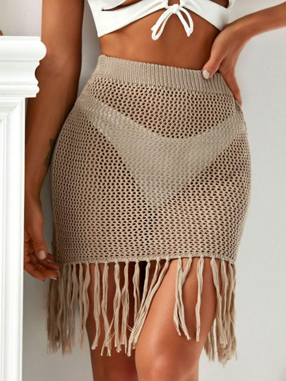 hot Fringed Hem Crochet Beach Skirt - LIGHT COFFEE ONE SIZE
