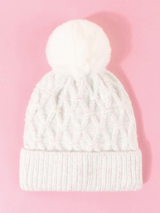 lady Turn Up Edge Knitted Bubble Hat - MILK WHITE