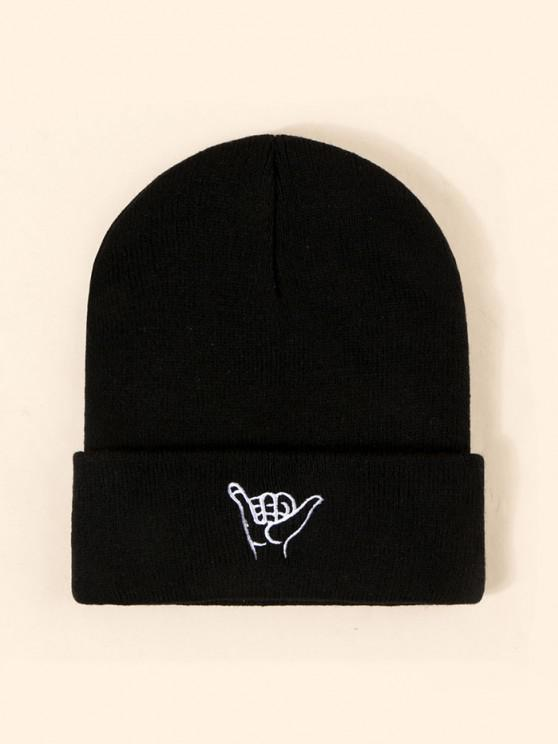 best Embroidery Gesture Pattern Knitted Hat - BLACK