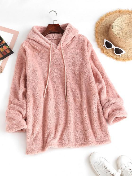 fancy Drawstring Side Slit Fluffy Blanket Hoodie - LIGHT PINK M