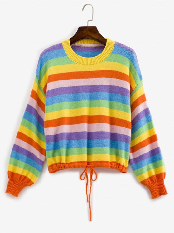 Camisola de Listras de Arco-íris com Mangas Lanterna - Multi Um Tamanho