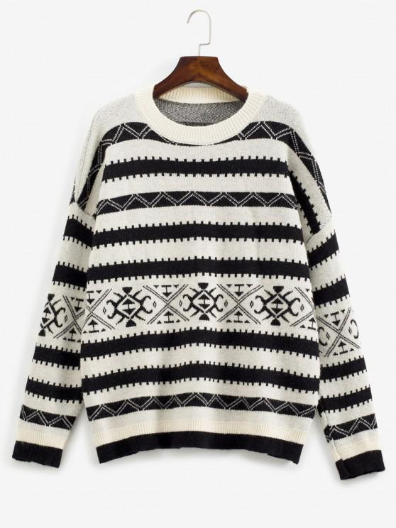 best Loose Crew Neck Geo Graphic Sweater - BLACK ONE SIZE