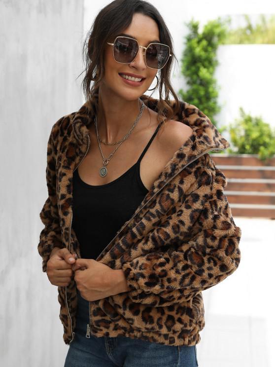 womens Leopard Pocket Fluffy Zip Up Jacket - DEEP COFFEE L