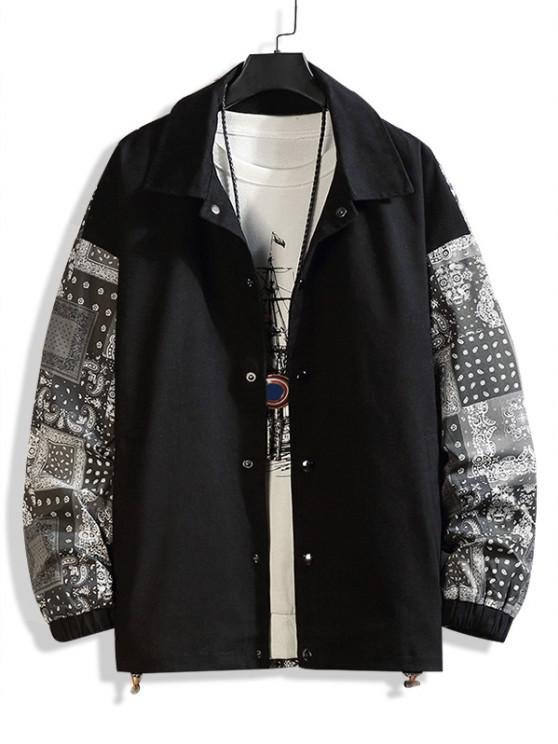 fancy Paisley Scarf Print Button Up Jacket - BLACK L