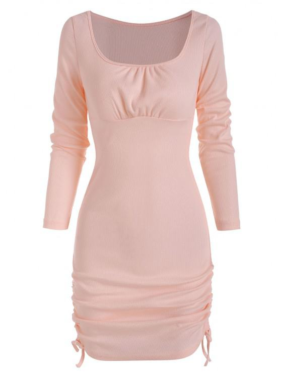 affordable Rib-knit Side Cinched Ruched Slinky Dress - LIGHT PINK S