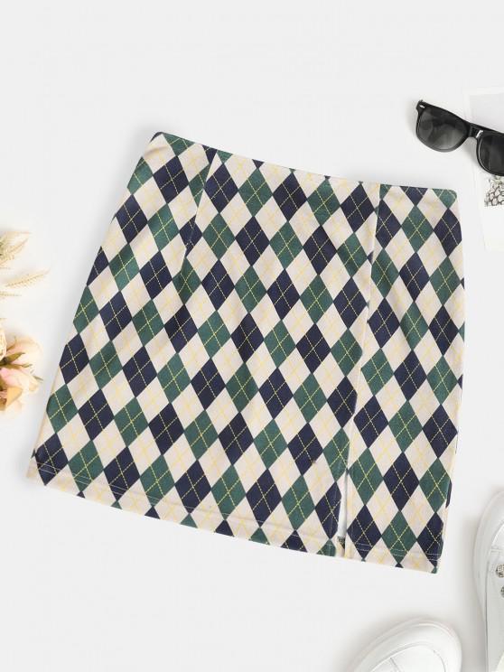 ZAFUL Mini Falda de Argyle con Abertura Frontal - Verde Oscuro S