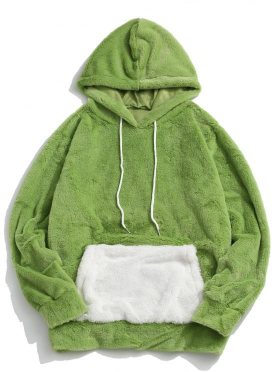 best Contrast Kangaroo Pocket Fluffy Faux Fur Hoodie - LIGHT GREEN S