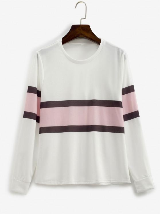 hot Contrast Striped Pullover Basic Sweatshirt - WHITE L