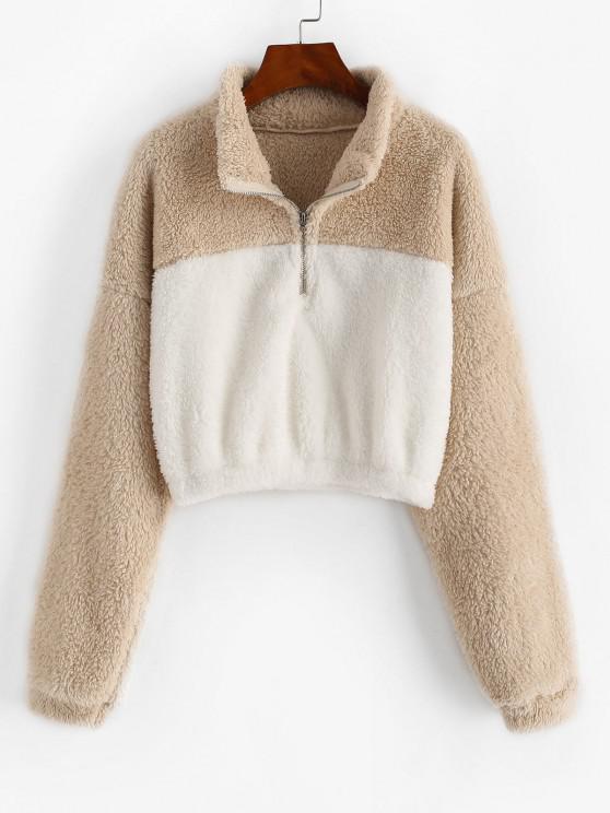 Two Tone Drop Shoulder Half Zip Fluffy Sweatshirt - القهوة الخفيفة L
