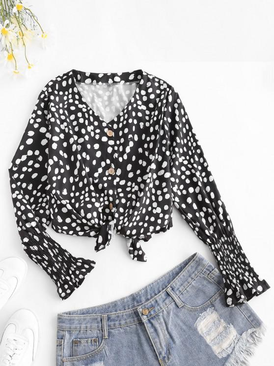 Dots Pattern Smocked Poet Sleeve Blouse - أسود L