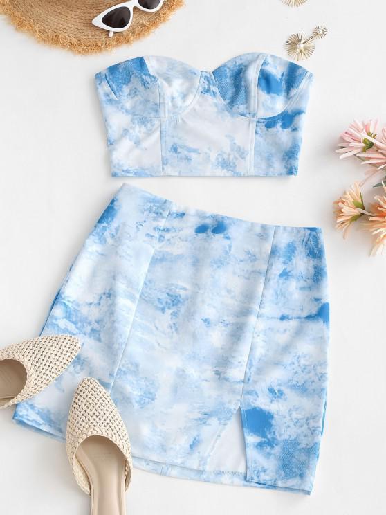 ladies Tie Dye Smocked Back Slit Two Piece Dress - LIGHT BLUE M