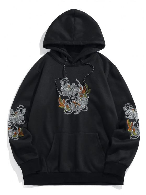 outfits ZAFUL Flower Embroidered Fleece Hoodie - BLACK XL