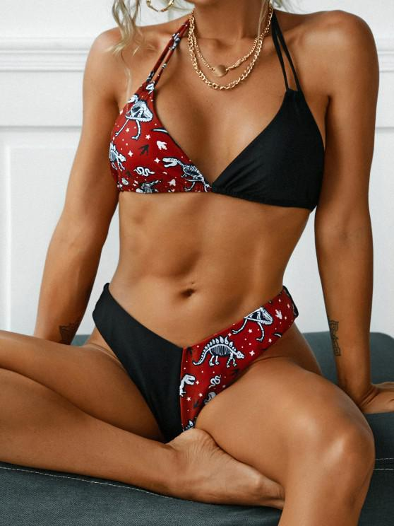 ZAFUL Dinosaur Snake Print Plunge Bikini Swimwear - أحمر عميق L