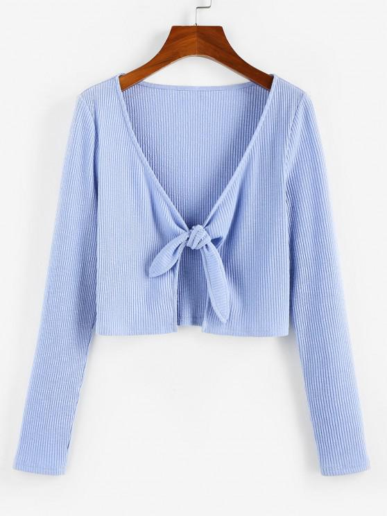 ladies ZAFUL Ribbed Tied Plunging Crop T Shirt - LIGHT BLUE M