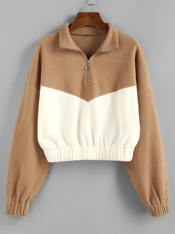 women ZAFUL Colorblock Half Zipper Sweatshirt - TAN S