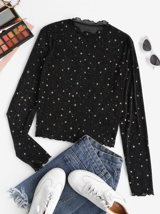 ZAFUL Semi Sheer Mesh Shiny Stars Print Metallic Top - أسود L