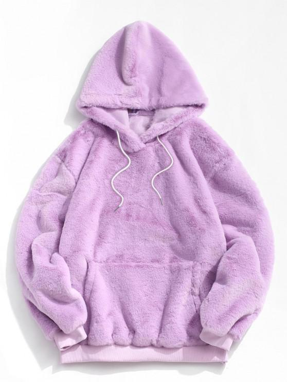 Kangaroo Pocket Faux Fur Fluffy Pullover Hoodie - ضوء ارجواني M