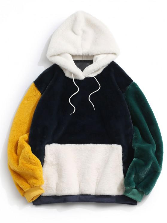 Kangaroo Pocket Contrast Fluffy Faux Fur Hoodie - ازرق غامق M