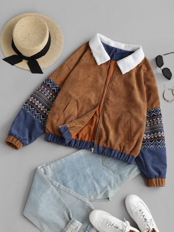 Ethnic Borg Collar Corduroy Jacket - قهوة M