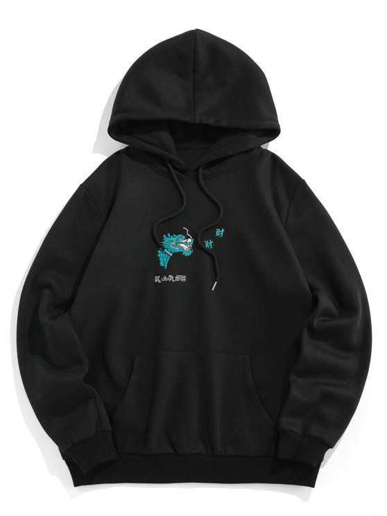 lady ZAFUL Dragon Embroidered Fleece Graphic Hoodie - BLACK XL