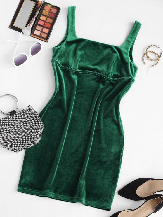 ZAFUL Square Neck Velvet Mini Bodycon Dress - ديب غرين L
