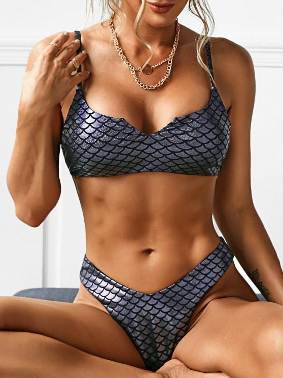 ZAFUL Metallischer Mermaid Bikini Badeanzug mit V Ausschnitt - Schwarz M