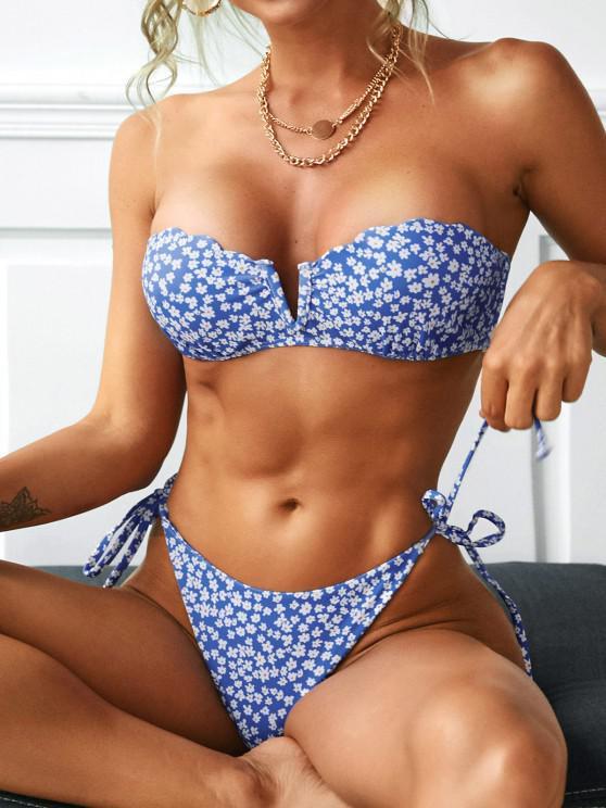 women ZAFUL Push Up V-notch Floral Tie Side Bikini Swimwear - BLUE L
