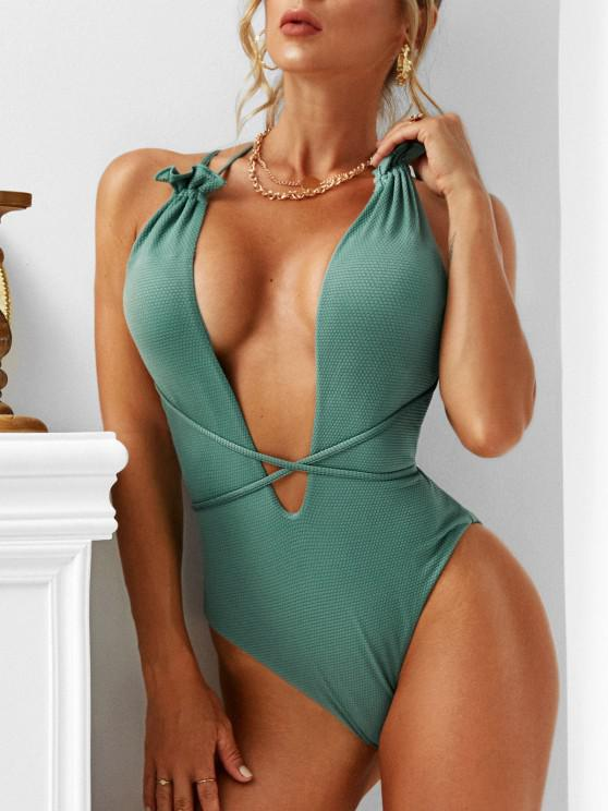 ladies ZAFUL Textured Ruffle Plunge Front One-piece Swimsuit - DEEP GREEN M
