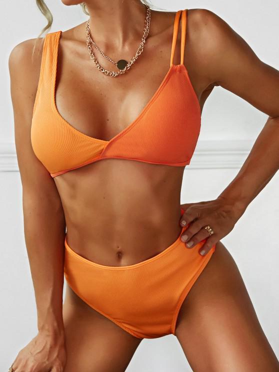 ZAFUL Maillot de Bain Bikini Plongeant Asymétrique à Epaule Dénudée à Coupe Haute - Orange S