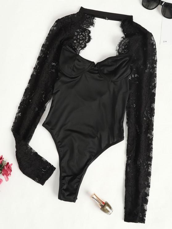 Bodysuit de Braga con Panel de Encaje con Mangas Largas - Negro L