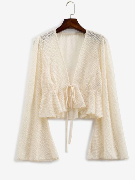 chic Metallic Threads Flare Sleeve Tie Front Blouse - LIGHT COFFEE S