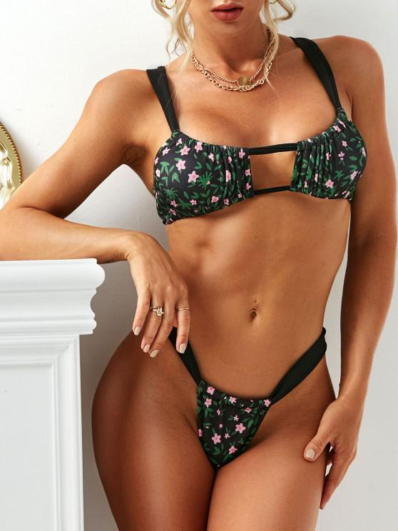 affordable Floral Print Cutout Cinched Bikini Swimwear - BLACK S