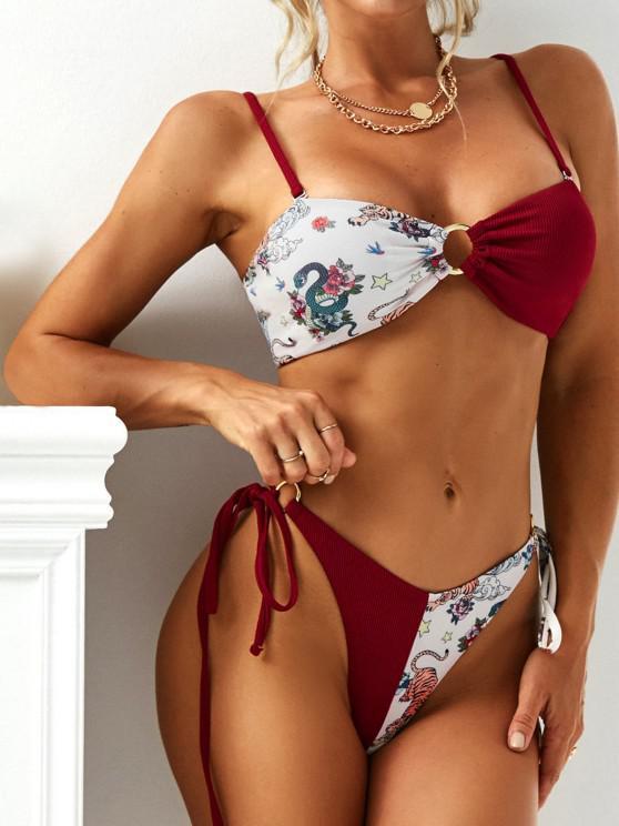 sale ZAFUL Ribbed Tiger Snake O Ring Lace Up String Bikini Swimwear - RED S