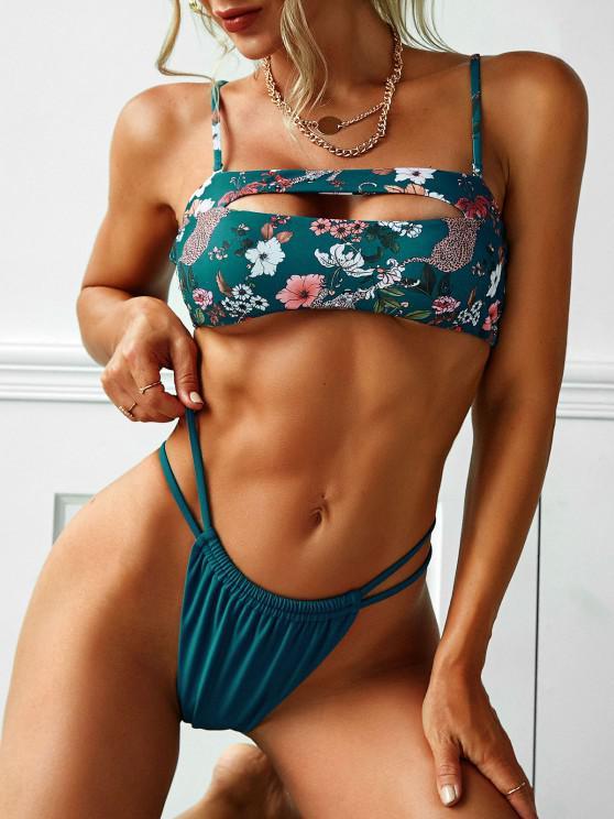 ZAFUL Ausschnitt Blumen Leopardenmuster Bikini Badebekleidung - Pfauenblau S