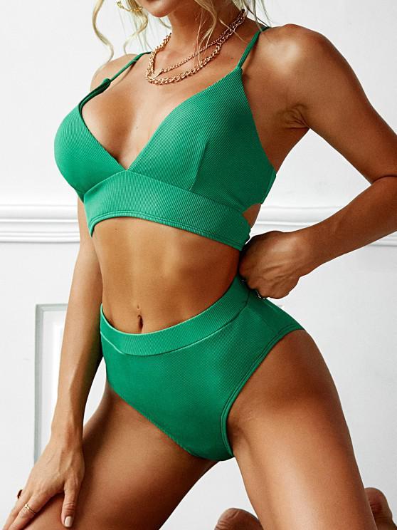 outfits ZAFUL Lace Up Ribbed High Waisted High Cut Bikini Swimwear - LIGHT GREEN S