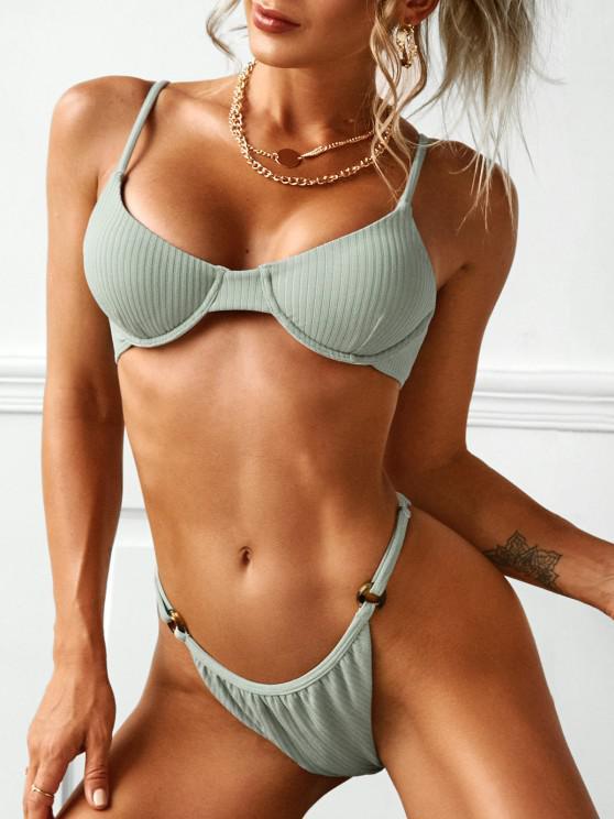 hot ZAFUL O Ring Ribbed Underwire Bikini - GREEN S