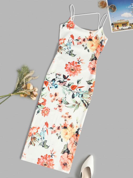affordable Spaghetti Strap Floral Slinky Midi Bodycon Dress - WHITE M