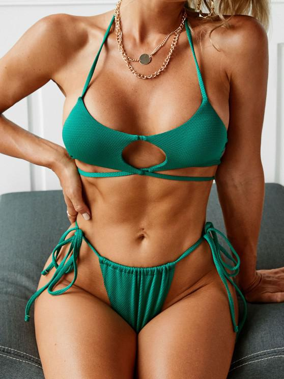 women's ZAFUL Halter Cutout Tie String Bikini Swimwear - DEEP GREEN S