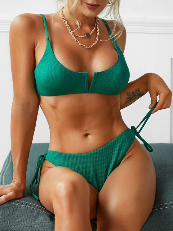 ZAFUL V-wired Self-tie Textured Bikini Swimwear - ديب غرين S